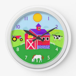 (Sun up) farm time Large Clock