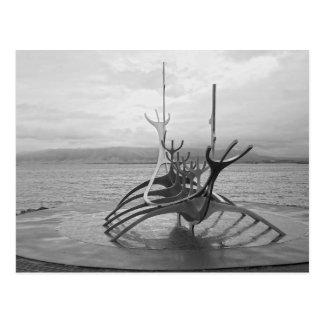 Sun Voyager Sculpture, Reykjavik, Iceland, B/W Postcard