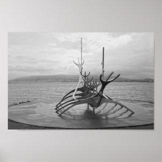 Sun Voyager Sculpture, Reykjavik, Iceland, B/W Poster