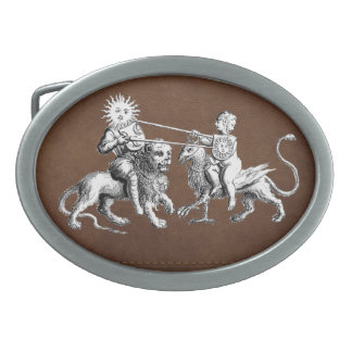 Sun vs. Moon Jousting Match Oval Belt Buckle
