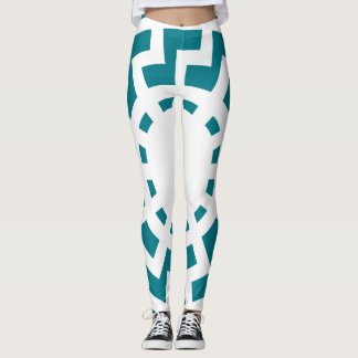 Sun Wheel Macro-Design Women's Leggings White/Blue