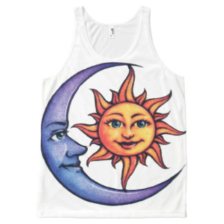 sun with blue moon All-Over-Print tank top