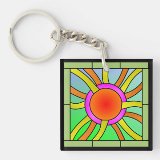 Sun with Rays Deco Art Double-Sided Square Acrylic Keychain