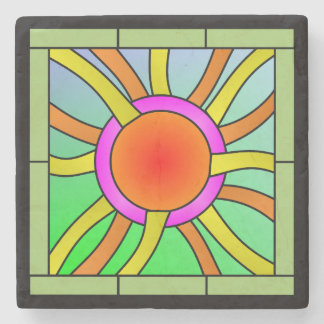 Sun with Rays Deco Art Stone Coaster