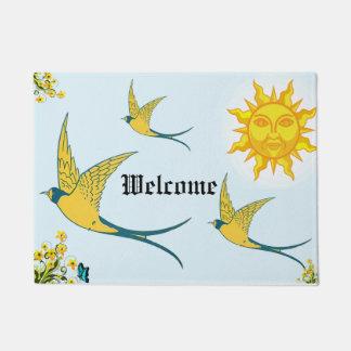 sun with yellow birds doormat