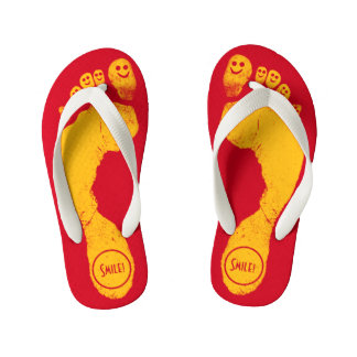 Sun Yellow Footprints Smiley-Toes™ Run-Around Red Kid's Flip Flops