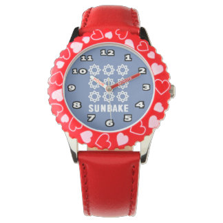 SunBake Bezel with Red Hearts Watch