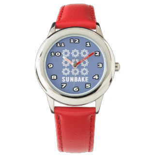 SunBake Stainless Steel Red Watch