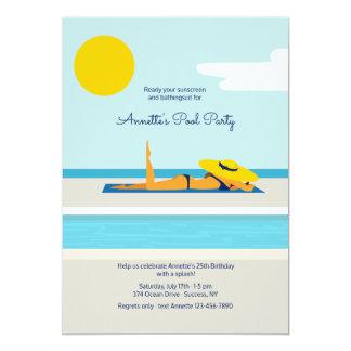 Sunbathing Pool Party Invitation