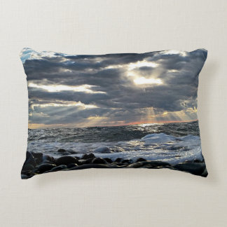 Sunbeams on a Rocky Shore Decorative Pillow