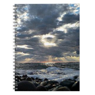 Sunbeams on a Rocky Shore Spiral Notebook