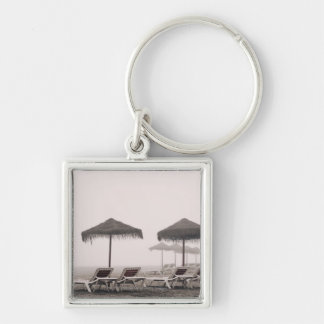 Sunbeds And Umbrella On Playamar Beach Keychain