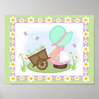 Sunbonnet Spring Easter Prairie Girl Nursery Art Poster