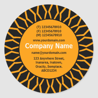 SunBurst 07 Business - Orange Classic Round Sticker