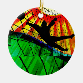 Sunburst and Net Soccer Goalie Invite Ceramic Ornament