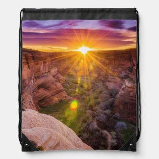 Sunburst at Canyon de Chelly, AZ Drawstring Bag