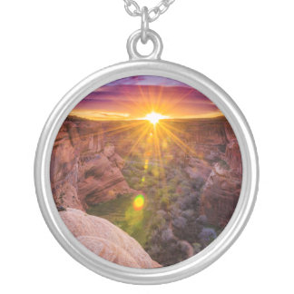 Sunburst at Canyon de Chelly, AZ Silver Plated Necklace
