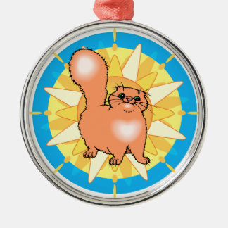 Sunburst Cat Artwork Silver-Colored Round Ornament