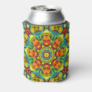 Sunburst Colorful  Kaleidoscope Can Cooler