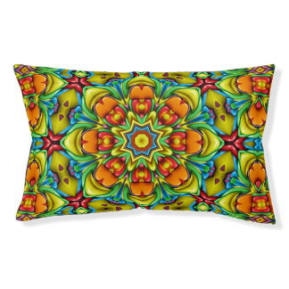 Sunburst Colorful  Vintage Kaleidoscope Dog Bed