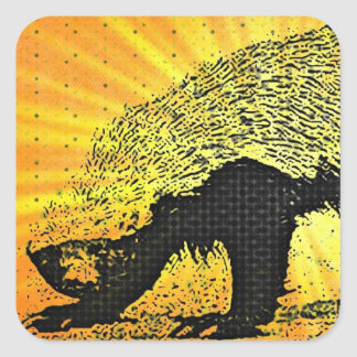 Sunburst Honey Badger Square Sticker