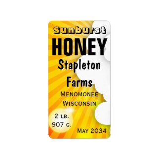 Sunburst Honey Jar Personalized Label
