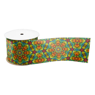 "Sunburst Kaleidoscope   Ribbon. 1.5"" or 3"" Satin Ribbon"