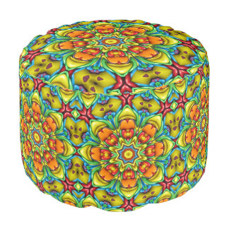 Sunburst Kaleidoscope  Round Pouf