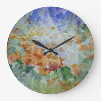 Sunburst Poppies Decorative Wall Clock