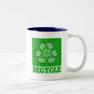 SUNBURST RECYCLE Art Tshirts, Mugs, Totes Two-Tone Coffee Mug