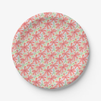 Sunburst Tropical Flower Pattern Paper Plate