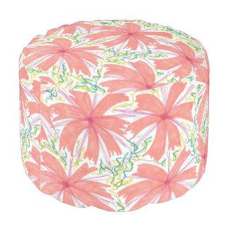Sunburst Tropical Flower Pattern Pouf