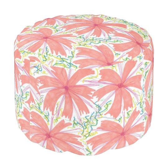 Sunburst Tropical Flower Pattern Pouf
