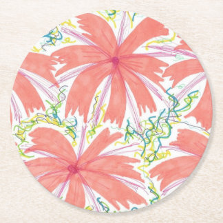 Sunburst Tropical Flower Pattern Round Paper Coaster