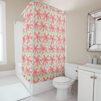 Sunburst Tropical Flower Pattern Shower Curtain
