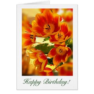 sunburst Tulip Birthday wishes Card