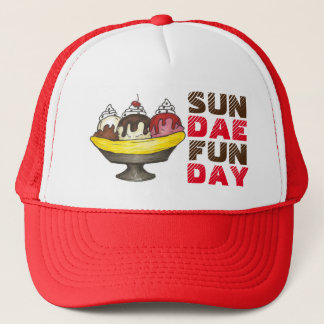SUNDAE (SUNDAY) FUNDAY Ice Cream Banana Split Food Trucker Hat
