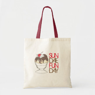 SUNDAE (SUNDAY) FUNDAY Ice Cream Hot Fudge Foodie Tote Bag