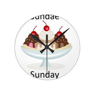 sundae sunday round clock
