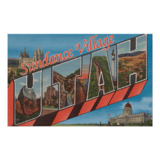 Sundance Village, Utah - Large Letter Scenes Poster