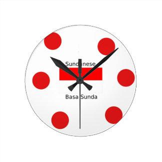 Sundanese Language And Indonesia Flag Design Round Clock