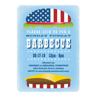 Sunday Funday Patriotic Burger Barbecue Card
