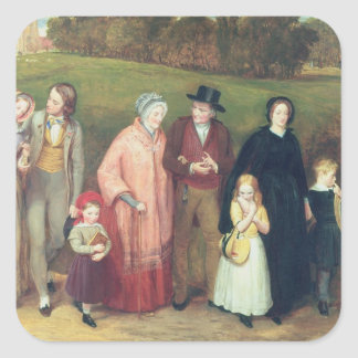 Sunday Morning - The Walk from Church, 1846 Square Sticker