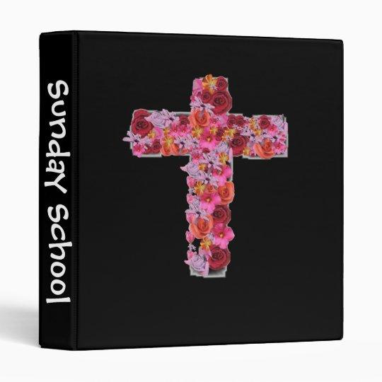 Sunday School Binder with Beautiful Flower Cross