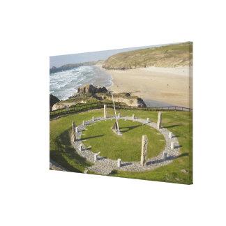 Sundial and Perran Beach, Perranporth, Cornwall, Canvas Print