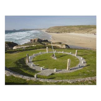 Sundial and Perran Beach, Perranporth, Cornwall, Postcard