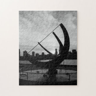 Sundial Sunset Grayscale Jigsaw Puzzle