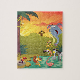 Sundown At The Water Hole Jigsaw Puzzle