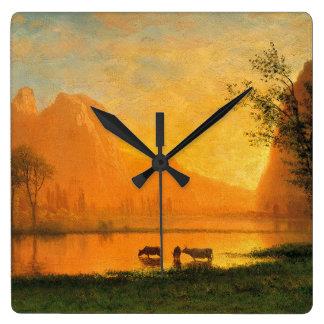 Sundown at Yosemite Acrylic Clock