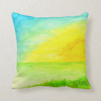 """Sundown Borderline"" Watercolor Throw Pillow"